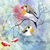stock photo of robin bird  - robins bird on a branch on a watercolor background - JPG