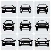 Kompakt und Luxury Passenger Car Icons(signs) Front View - Vektorgrafik