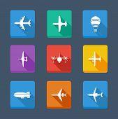Vector coleção avião e cinza. Conjunto de ícones