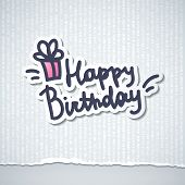 image of cut torn paper  - happy birthday - JPG