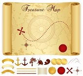 stock photo of wind-rose  - Treasure Map on old - JPG