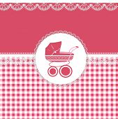 foto of sidecar  - Card for baby girl in pink tones with patterns and sidecar - JPG