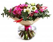 Design A Bouquet Of Pink Peonies, White Poppies, And Hypericum. Pink Flowers, White Flowers. Flower