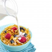 corn flakes with fresh berries and pouring milk isolated on white background