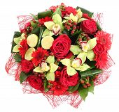 Floral Compositions Of Red Roses, Red Gerberas And Orchids. Floristic Composition, Design A Bouquet,