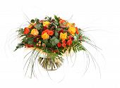 Floral Composition Of Orange Roses, Hypericum And Fern. Flower Arrangement In A Transparent Glass Va