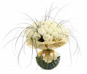 A Large Bouquet Of White Roses. A Huge Bouquet Of Cream Roses. Izobrazhenin Isolated On A White Back