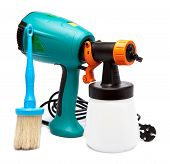 electrical spray gun for coloration for color pulverization and a paintbrush