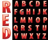 vector red shiny alphabet