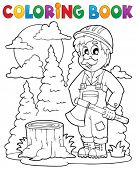 Coloring book lumberjack theme 1 - eps10 vector illustration.