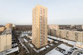 MOSCOW - DEC 22: High-rise residential building in district of Moscow on December 22, 2012 in Moscow