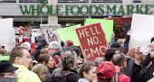 NEW YORK-MAY 25: Protestors begin the March Against Monsanto in Union Square in front of the Whole Foods grocery store during a global movement against GMO's on May 25, 2013 in Manhattan.