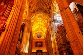 Arches Stained Glass Statues Cathedral Of Saint Mary Of The See Vane Seville Spain