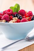 Muesli with fresh fruits.