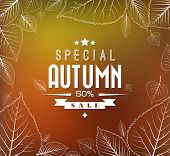 Autumn sale vector retro poster with abstract blurred fall background and white leafs