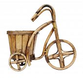 Bicycle flowerpot made of wooden rods