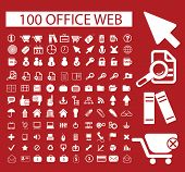 100 office web icons set, vector