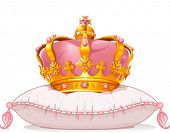 stock photo of queen crown  - Adorable crown on the pillow - JPG