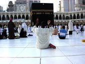Muslims raised their hands in prayer during Ramadan Mubarak around the Kaaba