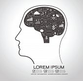 Concept of modern business. Silhouette of a human head with the brain and doodle business, technology icons
