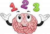 Illustration of Brain Mascot with Numbers 1 2 3