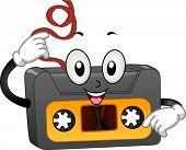 Illustration of a Retro Cassette Tape Mascot Pulling Its Tape