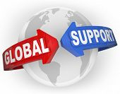 The words Global Support on arrows around a globe planet Earth to illustrate international aid, support and emergency assistance in times of crisis and need