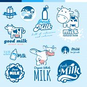 Set of labels and icons for milk