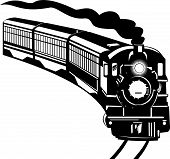 foto of train track  - vector illustration of a steam train isolated on white background - JPG