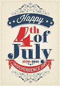 Vintage Style Independence Day-Poster mit dem Wortlaut: Happy 4th of July 1776-2013, Unabhängigkeit D