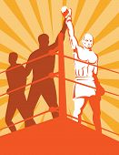 stock photo of boxing ring  - Vector art illustration on the combative sport of boxing - JPG