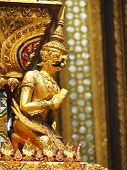 image of garuda  - decorate of temple with garuda figure in wat Phra Kaew Bangkok Thailand - JPG