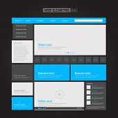 Flat Blue Web Elements