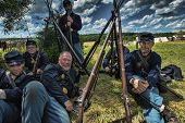 GETTYSBURG, PENNSYLVANIA - JULY 7: Participants at the 150th anniversary of the American Civil War o