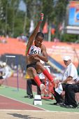 DONETSK, UKRAINE - JULY 13: Kristal Liburd, Saint Kitts And Nevis, in long jump competitions during
