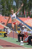 DONETSK, UKRAINE - JULY 13: Natalia Chacinska, Poland, fight for her bronze medal in long jump durin