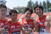 DONETSK, UKRAINE - JULY 13: Team Japan in boys medley relay during World Youth Championships in Donetsk, Ukraine on July 13, 2013. Left to right: Kaisei Yui, Kakeru Yamaki, Shunto Nagata, Daiki Oda