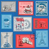 Set of Stamps - Vintage Paris and France - for design and scrapbook - in vector
