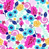 Fairytale flowers seamless pattern background