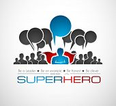 stock photo of hero  - Worldwide communication and social media concept art with a superhero shape - JPG