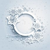 Christmas frame on snow background with space for text