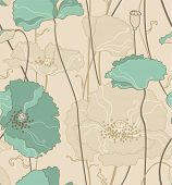 floral seamless pattern, poppies