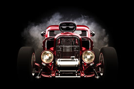 stock photo of muscle-car  - Hot rod with smoke background on black - JPG