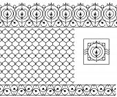 Seamless Patterns Set For Wrought Iron Railing, Grating, Lattice, Gates, Fence. Black Silhouette