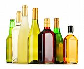 picture of ethanol  - Bottles of assorted alcoholic beverages isolated on white background - JPG