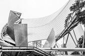 CHICAGO, ILLINOIS, USA - JULY 26 2013: Jay Pritzker pavilion in Millennium Park, monochrome