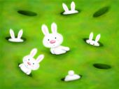 foto of rabbit hole  - cute white bunnies curiously looking out of holes in the ground - JPG