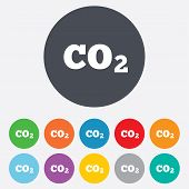 stock photo of carbon-dioxide  - CO2 carbon dioxide formula sign icon - JPG
