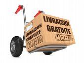 Livraison Gratuite - Cardboard Box on Hand Truck.