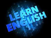 Learn English on Dark Digital Background.